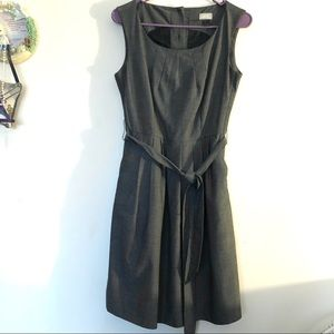 H&M gray belted pleated dress with pockets